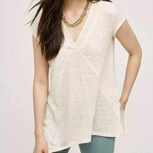 Meadow Rue Anthro Spliced Linen Asymmetrical Shirt